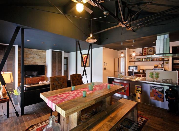 「LOHAS studio」のリノベーション事例「アメリカンヴィンテージの美しい空間。スケルトンからの戸建てリノベーション!」