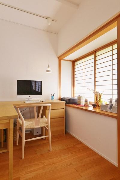 リノベーション、夢工房、和風住宅、障子、ワークスペース、スタディスペース、書斎、北欧家具、元和室