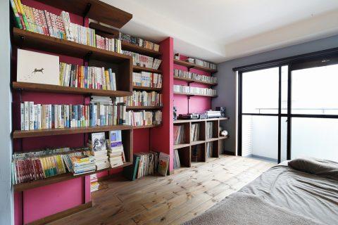 リノベーション、スタイル工房、アクセントウォール、ルイス・バラガン、書斎、寝室、趣味部屋