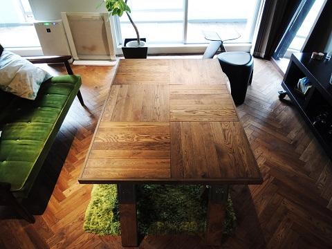 マンションリノベーション、錬、ヘリンボーン、リビングテーブル、グリーンインテリア