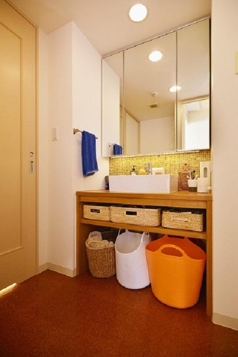 マンションリノベーション、夢工房、洗面カウンター、かご収納、オープン収納