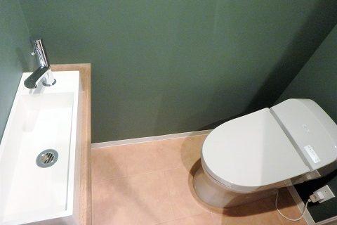 マンションリノベーション、リノベ不動産、アクセントウォール、トイレ手洗い器、グリーン壁