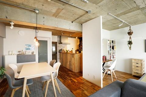 マンションリノベーション、インテリックス空間設計、北欧、カフェ風、ワークスペース
