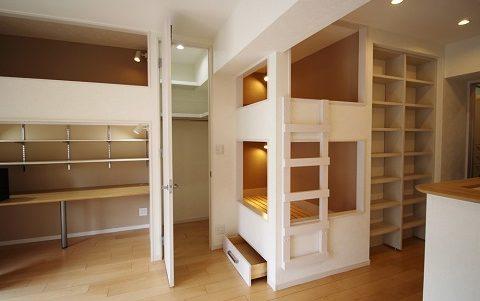 リノベーション東京、マンションリノベーション、造作家具、壁面収納、ロフトベッド