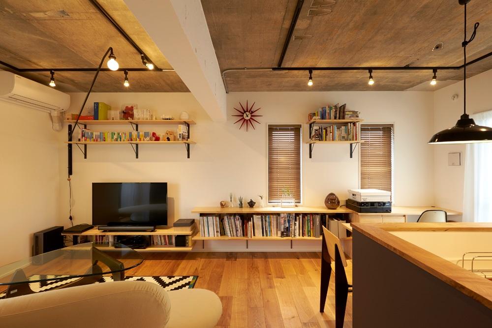 マンションリノベーション、三井のリフォーム、シンプル空間、オープン収納、建築家の家