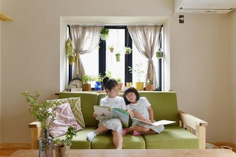 戸建てリノベーション、夢工房、グリーンソファ、植物を飾る、リネンカーテン