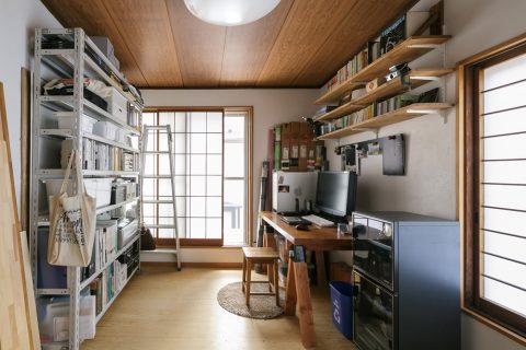 戸建てリノベ、スタイル工房、リノベーション、ワークスペース、仕事部屋、寝室、天井は既存のまま、板張り天井