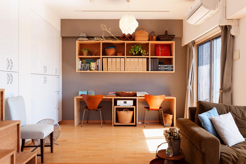 リノベーション、スタイル工房、メゾネット、タモ材、スタディスペース、リビング学習、アクセントウォール、DIY