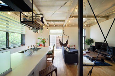 戸建リノベ、スタイル工房、ハンモック、リビング、アウトドアリビング、庭付き戸建、オーク無垢材、鉄骨現し