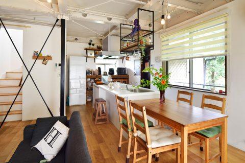 戸建リノベ、スタイル工房、吊り棚、対面キッチン、オーク無垢材、鉄骨現し、ブレース、リビング階段