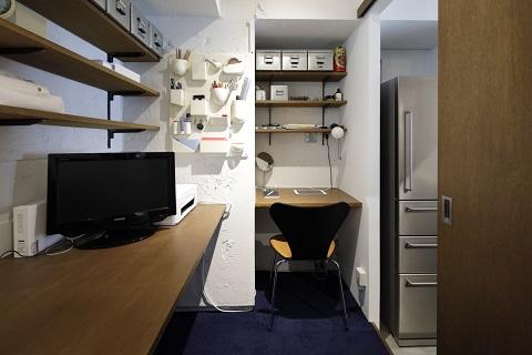 マンションリノベーション、東京リノベ、ワークスペース、オープン収納、引き戸