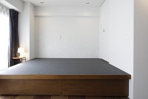 マンションリノベーション、東京リノベ、和紙畳、小上がり、躯体塗装壁