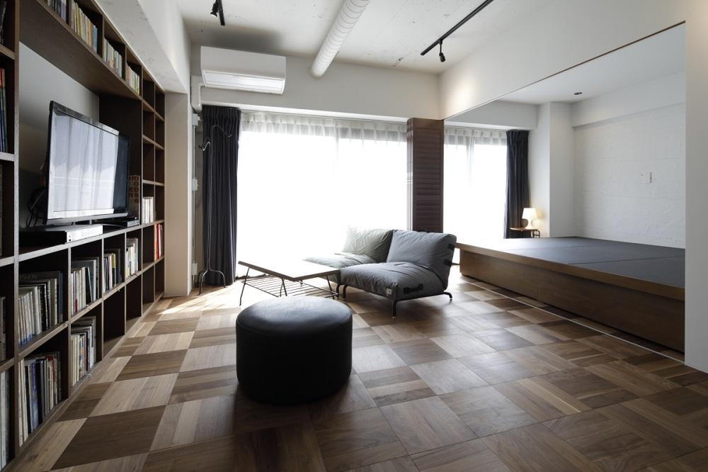 マンションリノベーション、東京リノベ、パーケットフローリング、和紙畳、オープン棚