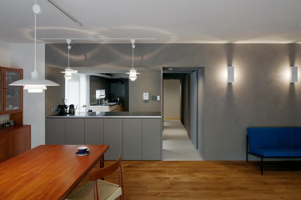 団地リノベーション、デザインライフ設計室、グレー壁、北欧インテリア、シンプルモダン