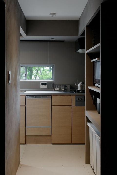 団地、リノベーション、デザインライフ設計室、ナチュラルキッチン、パントリー、眺めのいいキッチン