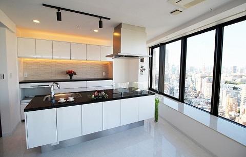 マンションリノベーション、リノベーション東京、アイランドキッチン、エコカラット、間接照明