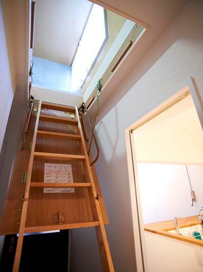 団地リノベーション、リノまま、グルニエ、屋根裏、開閉式階段、