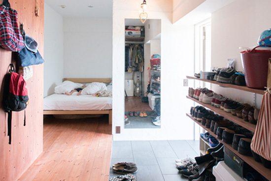 ゼロリノベ、マンションリノベーション、玄関土間、オープン靴箱、玄関収納