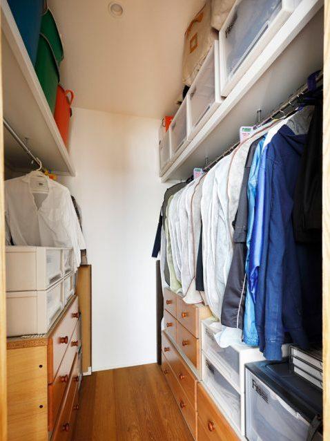 戸建てリノベ、2世帯、リノベーション、スタイル工房、ウォークインクローゼット、収納計画、無印PPクローゼット用ケース