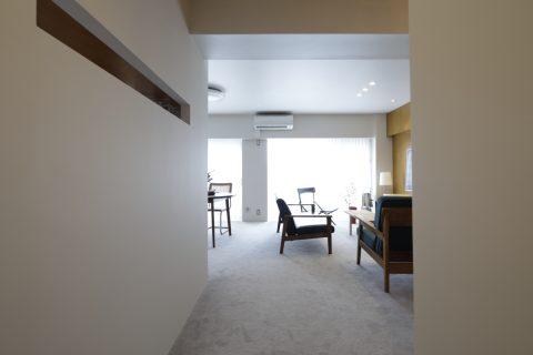 マンションリノベーション、東京リノベ、室内窓、ホテルライク、デザイナーズ家具