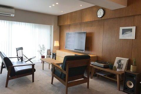 マンションリノベーション、東京リノベ、木質系壁、ホテルライク、大人ヴィンテージ