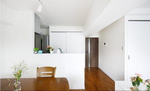 マンションリノベーション、インテリックス空間設計、対面キッチン、キッチン収納、白いLDK
