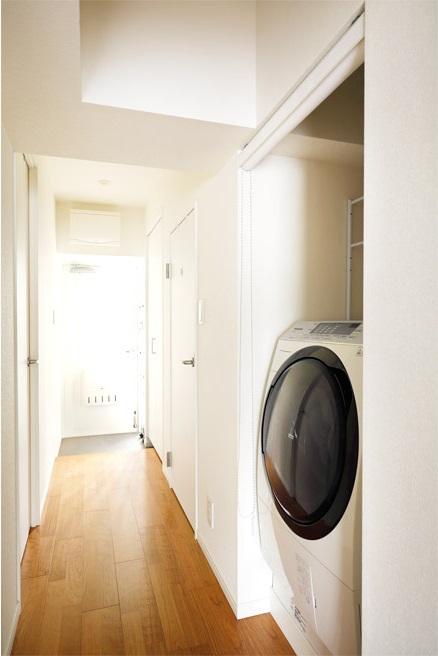 マンションリノベーション、インテリックス空間設計、洗濯機置き場、廊下洗濯機、洗濯機スクリーン