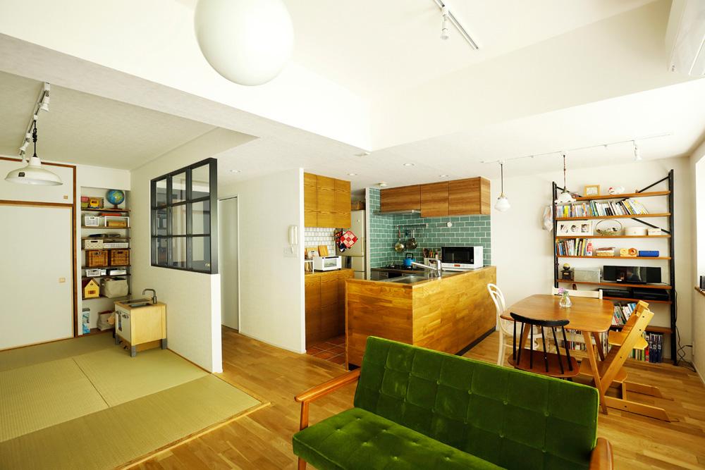 マンションリノベーション、スタイル工房、和室、室内窓、オープンキッチン、対面キッチン、タイル壁