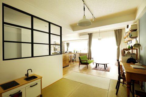 マンションリノベーション、スタイル工房、和室、珪藻土、室内窓、アクセントクロス