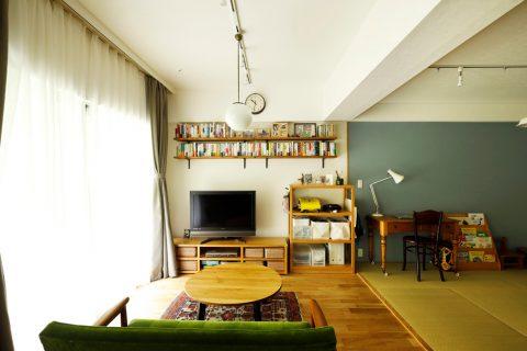 マンションリノベーション、スタイル工房、和室、珪藻土、オープン棚、アクセントクロス