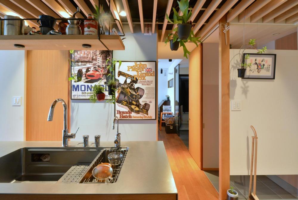 マンションリノベーション,ハンズデザイン一級建築士事務所,キッチン,ルーバー天井,2槽式シンク