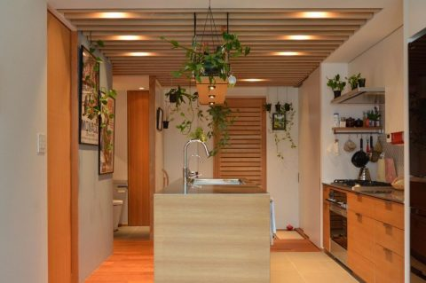 マンションリノベーション,ハンズデザイン一級建築士事務所,キッチン,アイランドキッチン,ルーバー天井