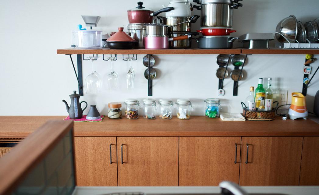 リノベーション,インテリックス空間設計,キッチン,背面収納,オープン収納