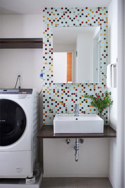 マンションリノベーション,インテリックス空間設計,洗面台,サニタリー,タイル壁
