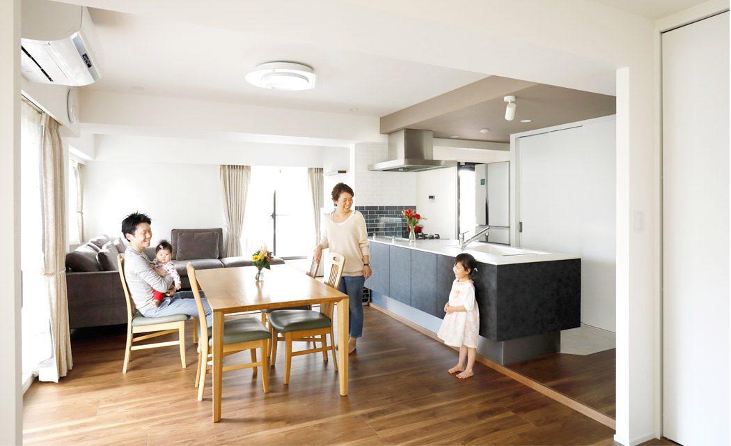 「インテリックス空間設計」のリノベーション事例「妻のオープンキッチンを優先に。和洋室の間取りを一新したリノベ。」