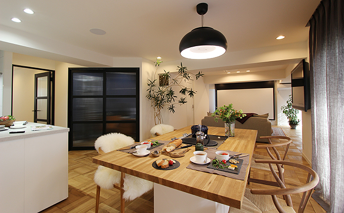 「住工房株式会社」のリノベーション事例「招く家をテーマに。ゲストと楽しむ空間リノベーション。」