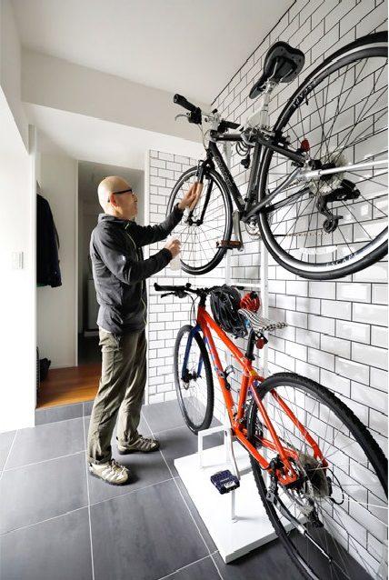 マンションリノベーション、インテリックス空間設計、自転車置き場、玄関土間、趣味空間
