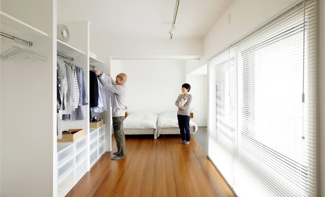 マンションリノベーション、インテリックス空間設計、オープンクローゼット、ワンルームリノベ、開放的な寝室