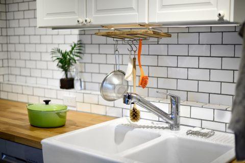 マンションリノベーション、スタイル工房、シングルレバー水栓、IKEA、キッチン、サブウェイタイル、