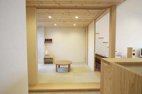 マンションリノベーション、スタイル工房、和室、和モダン、化粧天井、パイン材、羽目板貼り、木のぬくもり、押し入れ