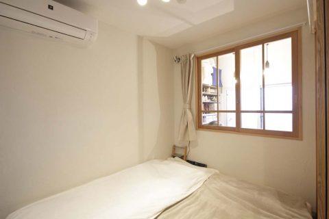 マンションリノベーション、スタイル工房、寝室、室内窓、珪藻土、DIY、寝室