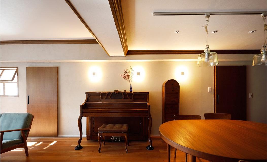 インテリックス空間設計,実家リノベーション,LDK,ピアノ,北欧ビンテージ