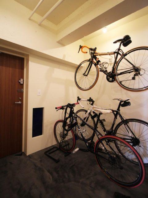 錬,マンションリノベーション,玄関,土間,ロードバイク