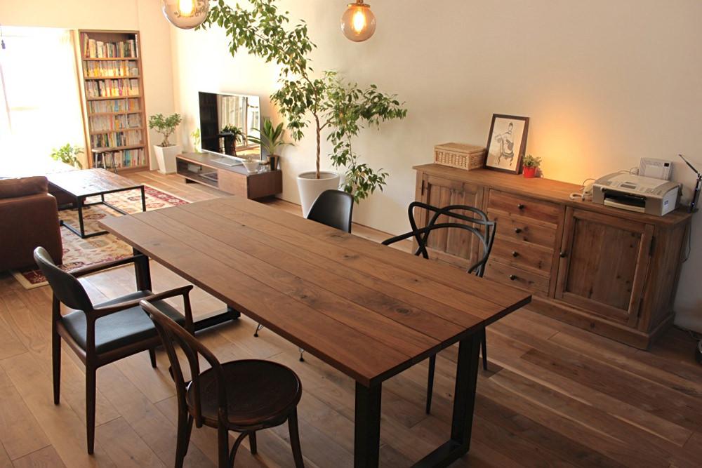 マンションリノベーション、ゼロリノベ、カフェスタイル、ヴィンテージ風家具、デザインチェア