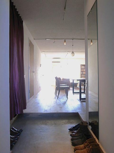 マンションリノベーション、ゼロリノベ、玄関土間、ワンルーム、玄関クローゼット