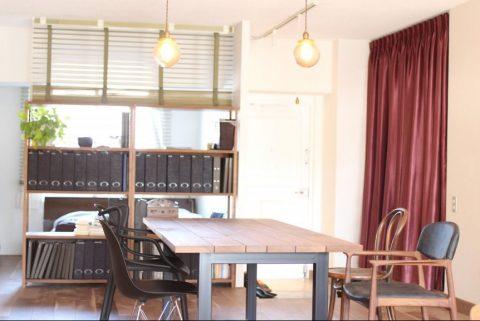 マンションリノベーション、ゼロリノベ、オープン棚仕切り、ウッドブラインド仕切り、カーテン仕切り