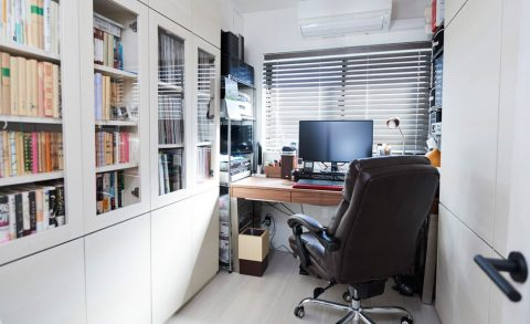 マンションリノベーション、インテリックス空間設計、夫の書斎、書斎収納、ワークスペース
