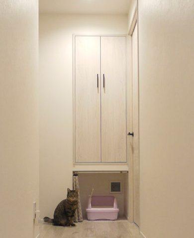 マンションリノベーション、インテリックス空間設計、猫トイレ、トイレ置き場、トイレ用換気扇