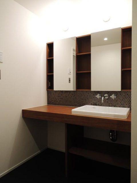 マンションリノベーション、株式会社錬、二鏡洗面台、洗面収納、洗面壁出し水栓
