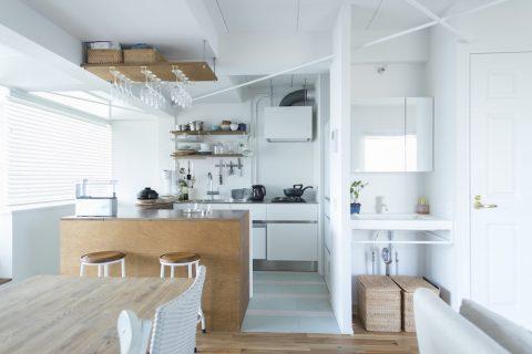 マンションリノベーション、ゼロリノベ、オープンキッチン、グラスハンガー、オープン洗面